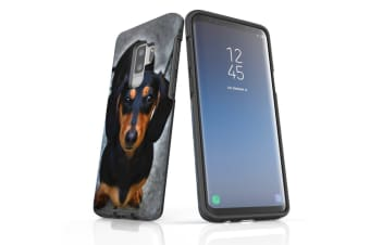 For Samsung Galaxy S9+ Plus Case Armour Cover  Black Tan Dachshund Portrait