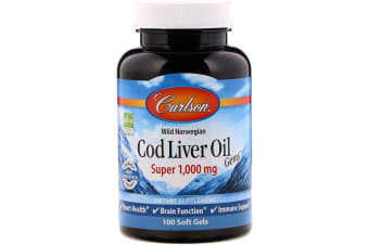 Carlson Labs Wild Norwegian Cod Liver Oil Gems Super 1,000mg - 100 Soft Gels