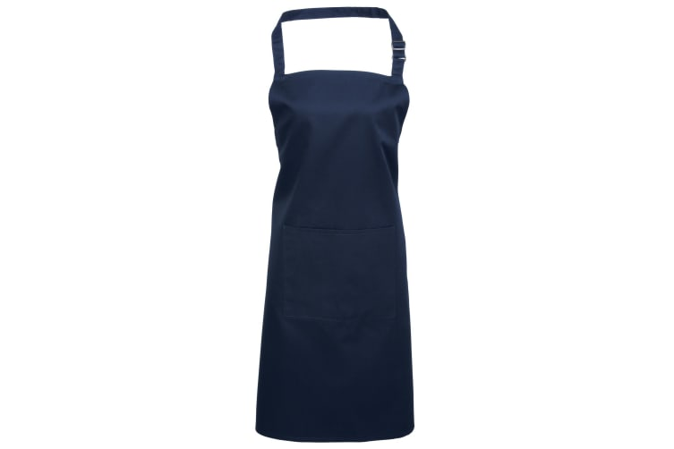 Premier Ladies/Womens Colours Bip Apron With Pocket / Workwear (Pack of 2) (Navy) (One Size)
