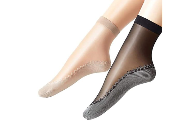 Women Fashion Sexy Silky Socks, Anti-Slip Cotton Sole Sheer Ankle High Tights Hosiery Socks Y000148