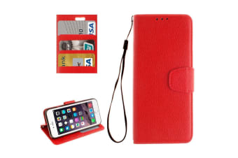 For iPhone 8 7 Wallet Case Elegant Lychee Durable Protective Leather Cover Red