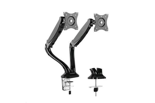 "Brateck Lumi LDT09-C024 13-27"" Counter Balance Gas Spring Arm Dual LCD Desk Mount. Max arm reach"