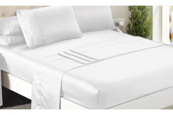 DreamZ Ultra Soft Silky Satin Bed Sheet Set in King Single Size in White Colour  -  WhiteKing single