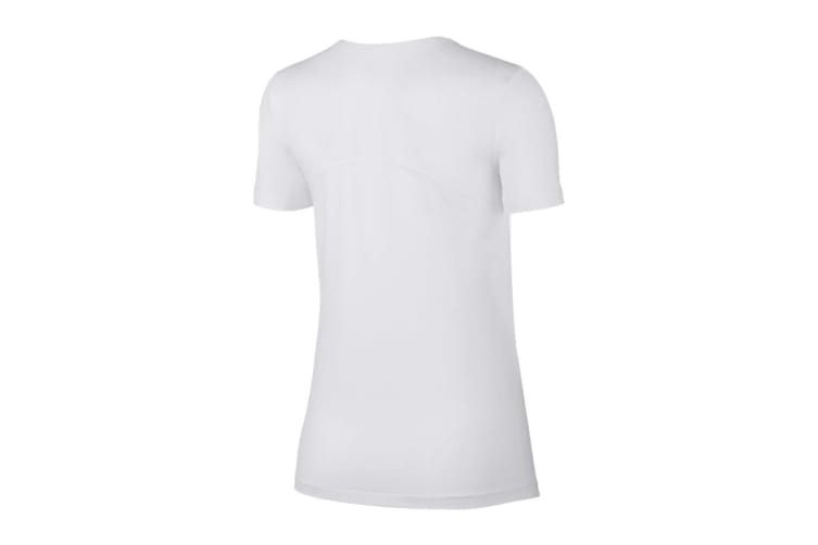 Nike Women's Pro Mesh Training Tees (White, Size L)