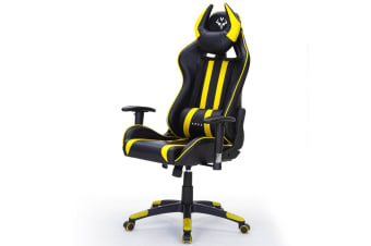 OVERDRIVE Reclining Gaming Chair Black Seat Computer Neck Lumbar Office Horns