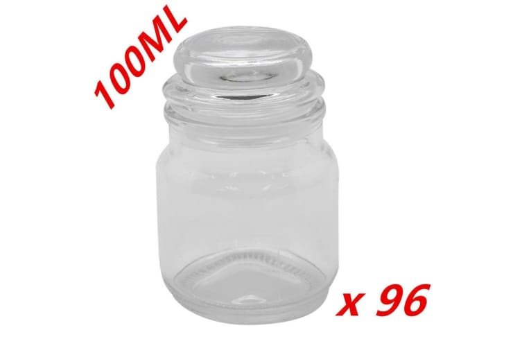 96 x Clear 100ml Glass Multi-purpose Storage Jar Candle Jar Lolly Candy Wedding Party