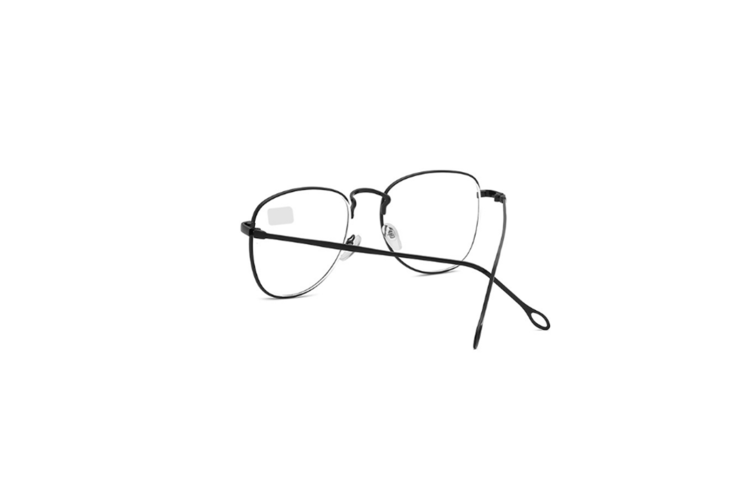 Retro Spectacles Frame Ultra Light Thin Metal Alloy Myopia Glasses - Black Black 150 Degrees Myopia