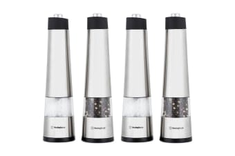 4PC Westinghouse Electric Push Buttons Salt/Pepper Stainless Steel Grinders/Mill