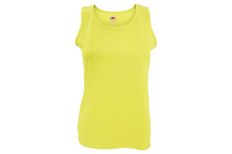 Fruit Of The Loom Womens/Ladies Sleeveless Lady-Fit Performance Vest Top (Bright Yellow) (L)