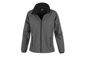 Result Womens/Ladies Core Printable Softshell Jacket (Charcoal / Black) (L)