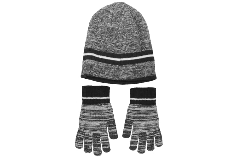 Mens Hat And Gloves Set (Black) (One Size)