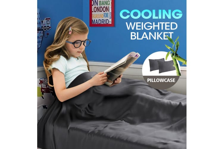 DreamZ 2KG Kids Anti Anxiety Weighted Blanket Bamboo Fiber Cover Pillowcase Grey