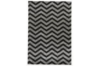 Modern Chevron Design Rug Charcoal