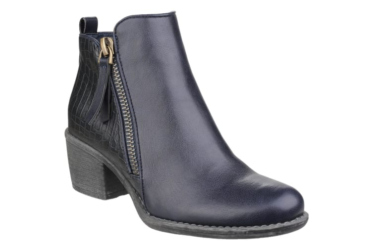 Divaz Womens/Ladies Dench Zip Up Reptile Skin Ankle Boots (Navy) (8 UK)