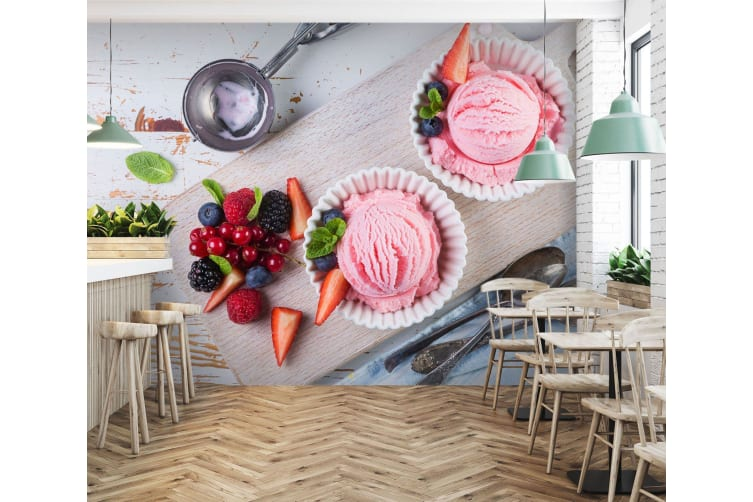 3D Cherry Delicious Ice Cream 54 Self-adhesive Vinyl, XL 208cm x 146cm (WxH)(82''x58'')