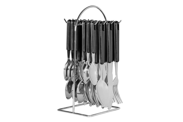 24pc Avanti Hanging Stainless Steel ABS Cutlery Set w Racks Wire Frame Black