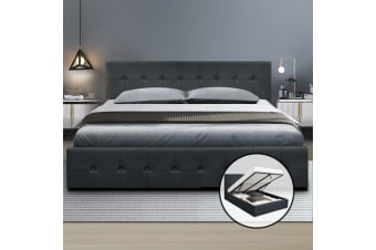 Artiss Queen Size Gas Lift Bed Frame Base With Storage Mattress Fabric