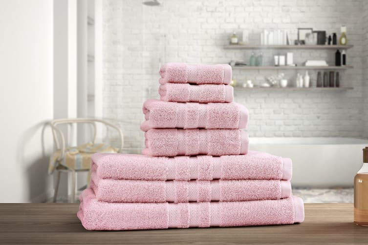 Ovela Set of 7 Egyptian Cotton Luxury Towels (Rose Quartz)
