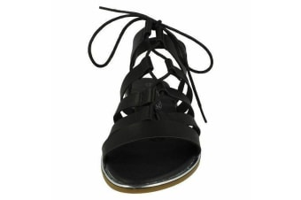 Spot On Womens/Ladies Flat Slingback Gladiator Style Sandals (Black) (5 UK)