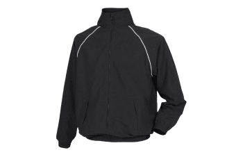 Tombo Mens Teamsport Start Line Sports Training Track Jacket (Black/ White piping)