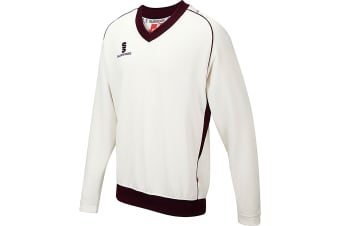 Surridge Boys Junior Fleece Lined Sweater Sports / Cricket (White/ Maroon trim)