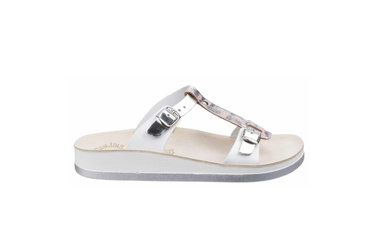 Fantasy Womens/Ladies Leather Jessamine Summer Mule (Silver) (6 UK)