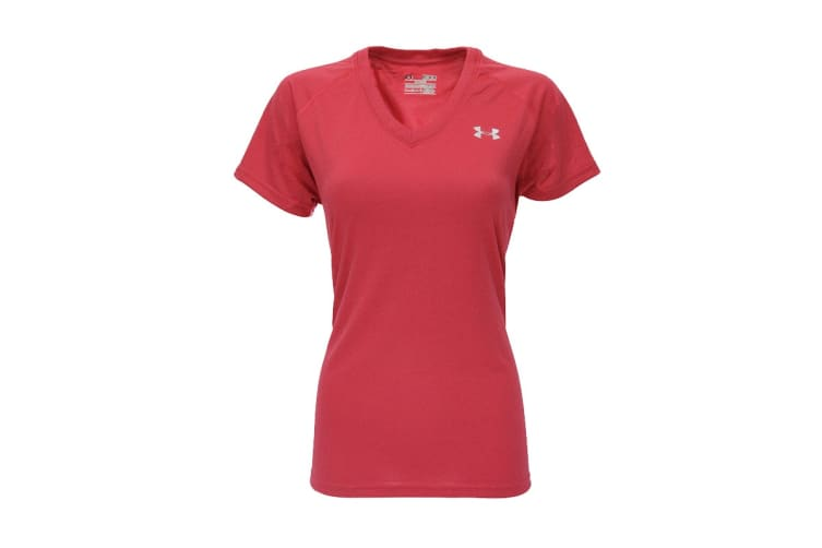 Under Armour Women's UA Tech V-Neck T-Shirt (Poppy Red/Steel, Size S)