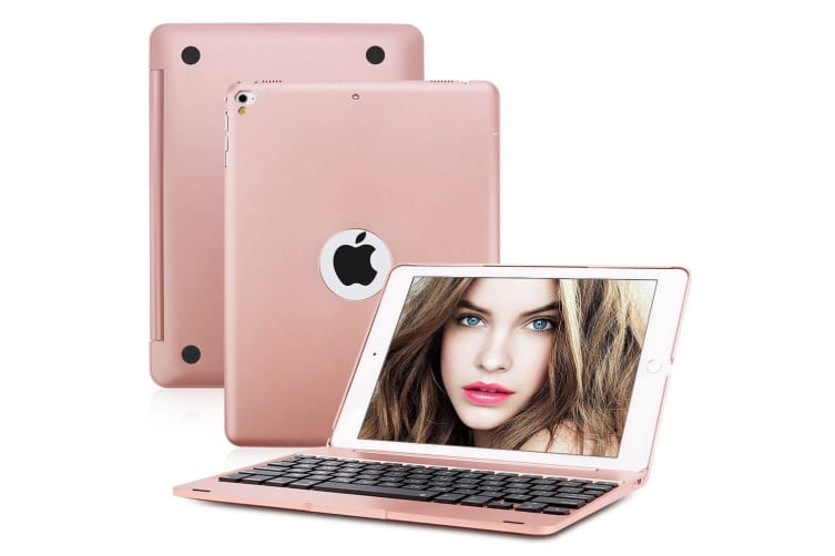 "For iPad 9.7"" 2018 6th Gen Bluetooth Aluminum Keyboard Smart Case Stand Cover AU-RoseGold"