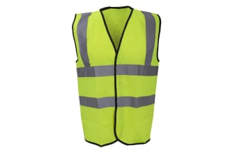 Warrior Mens High Visibility Safety Waistcoat / Vest (Fluorescent Yellow)