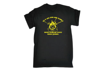 123T Funny Tee - Its All Fun And Games Until Someone Weiner - (Small Black Mens T Shirt)