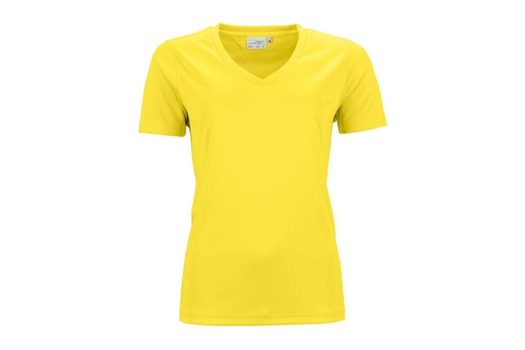 James And Nicholson Womens/Ladies Active V Neck T-Shirt (Yellow) (L)