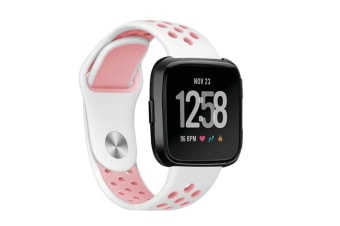Fitbit Versa Bands Sport Silicone Breathable Strap Replacement White&Pink
