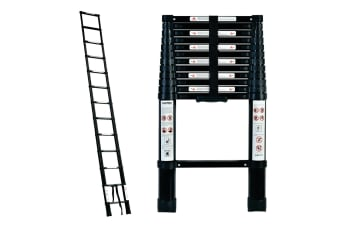 TRA 3.8m Black Portable telescopic ladder with carry bag