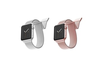 2pc X-Doria Stainless Steel Mesh Band Strap For 40mm-38mm Apple Watch SLV & RSGD