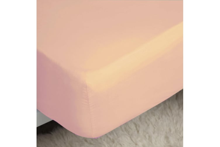 Belledorm 200 Thread Count Cotton Percale Extra Deep Fitted Sheet (Pink) (Single)