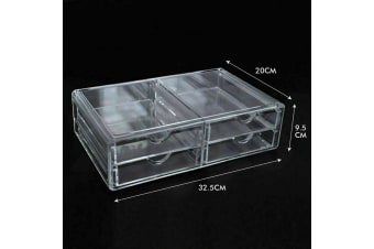 Cosmetic Organizer Clear Acrylic Jewellery Box Makeup Storage Case Drawers  -  D