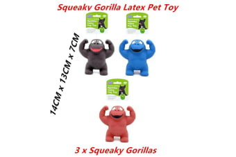 3 x Squeaky Latex Gorilla Animal Pet Toys Dog Chew Squeaker Sound Durable Rubber