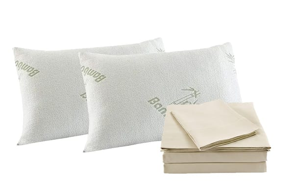 Royal Comfort Blended Bamboo Quilt Cover Set + Bamboo Pillow Twin Pack (Queen, Dark Ivory)