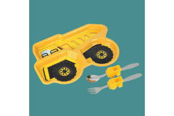 Kids Construction Dump Truck Dinner Winner Meal Set: Plate & Cutlery