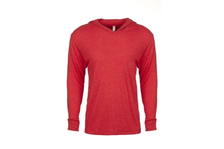 Next Level Adults Unisex Tri-Blend Long Sleeve T-Shirt Hoodie (Vintage Red) (S)