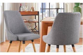 2x Cafe Fabric Upholstered Dining Chairs