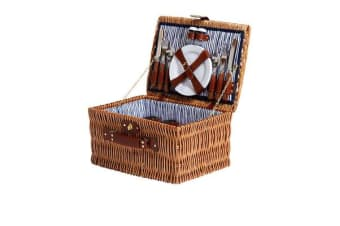 Kitchen Warehouse Oak Picnic Basket 4 Person Driftwood