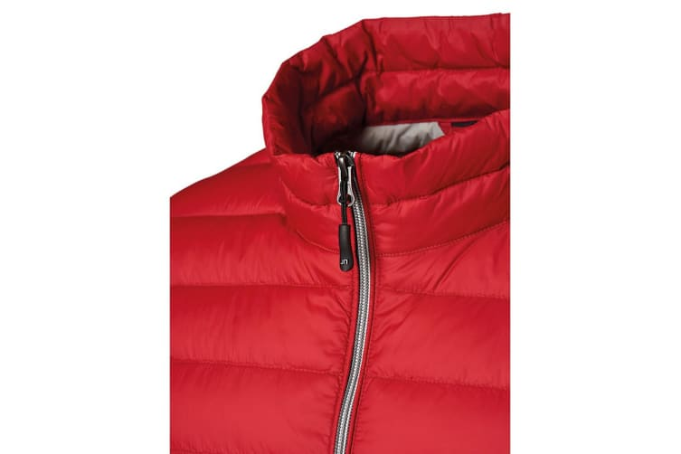 James and Nicholson Womens/Ladies Light Down Jacket (Red/Silver) (XL)
