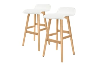 2X 74cm Oak Wood Bar Stool Leather SOPHIA - WHITE