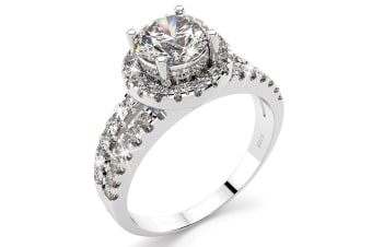 .925 Simulated Diamond Ring-Silver Size US 6