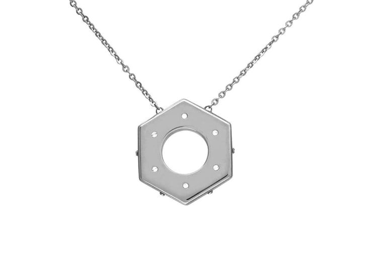 Swarovski Bolt Stainless Steel, Crystal Pave Pendant Chain Necklace