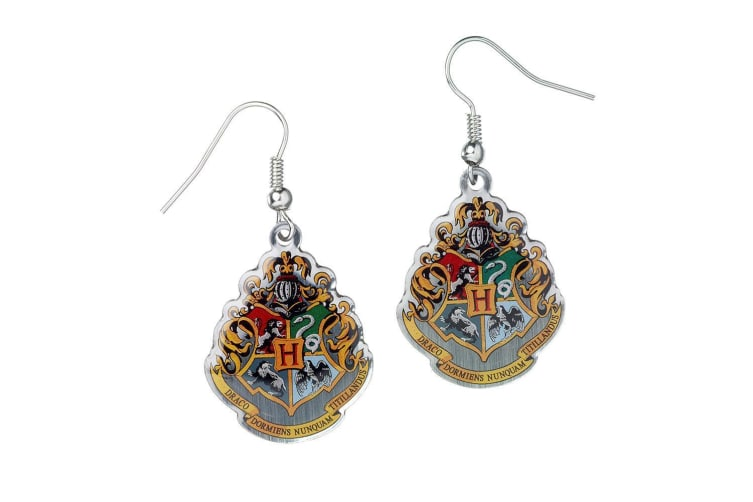 Harry Potter Hogwarts Silver Plated Earrings (Multicoloured) (One Size)