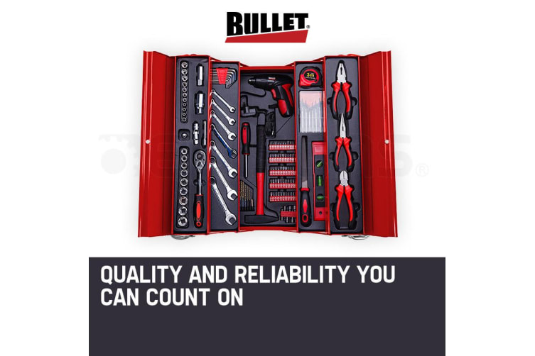 BULLET 118pc Tool Box Kit Set Cantilever Toolbox Drill Sockets Wrench Spanners