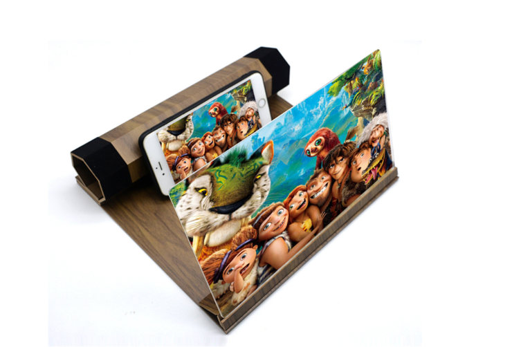 12 Inch Wood Grain Mobile Phone Screen HD Eye Protection Video Theater Support Office Home 3D Amplifier-3#