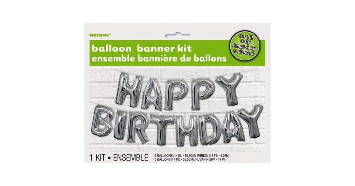 Silver Happy Birthday Balloon Banner Kit Air Fill only Party Balloons